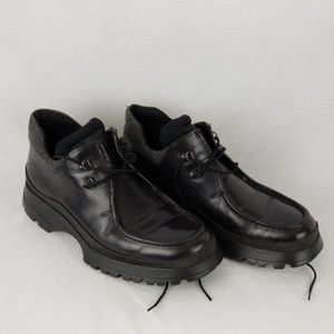 Prada Mens Black Leather Ankle Boots Size 7.5